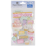 Sweet Birthday Girl - Paper House 3D Stickers