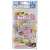 1st Birthday-Girl - Paper House 3D Stickers