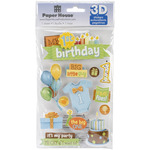 1st Birthday-Boy - Paper House 3D Stickers