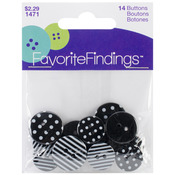 Dots & Stripes - Black & White 14/Pkg - Favorite Findings Buttons