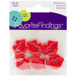 Kiss Me Red 6/Pkg - Favorite Findings Buttons