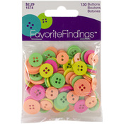 Neon Assorted 130/Pkg - Favorite Findings Buttons