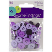 Purple Assorted 130/Pkg - Favorite Findings Buttons
