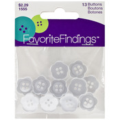 Blooms - White 13/Pkg - Favorite Findings Buttons
