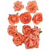 "Coral - Paper Blooms 1"" To 1.5"" 10/Pkg"