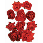 "Fire Red - Paper Blooms 1"" To 1.5"" 10/Pkg"