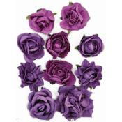"Grape - Paper Blooms 1"" To 1.5"" 10/Pkg"