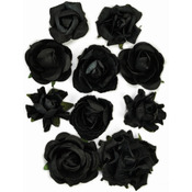 "Black - Paper Blooms 1"" To 1.5"" 10/Pkg"