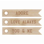 Word Flags - Adore - Wood Flourishes 3/Pkg