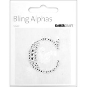 """Silver Crystal - C - Bling Alphas Self-Adhesive Rhinestone Letter 1.375"""""""