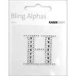 """Silver Crystal - H - Bling Alphas Self-Adhesive Rhinestone Letter 1.375"""""""
