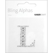 Silver Crystal - L - Bling Alphas Self-Adhesive Rhinestone Letter 1.375""