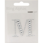 Silver Crystal - M - Bling Alphas Self-Adhesive Rhinestone Letter 1.375""