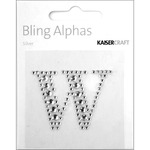 """Silver Crystal - W - Bling Alphas Self-Adhesive Rhinestone Letter 1.375"""""""