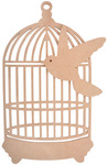 "Beyond The Page MDF Traditional Birdcage W/Bird-9.5""X16.25""X.25"" Cage, 6""X5.75""X"