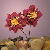 Deep Red Paper Wildflowers 1-1/8""