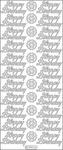 Silver - Happy Birthday Peel-Off Stickers