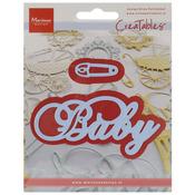 Baby Text & Safety Pin - Marianne Design Creatables Dies