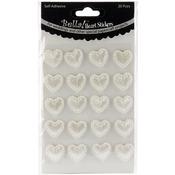 White - Bella! Wedding Self-Adhesive Hearts 20/Pkg