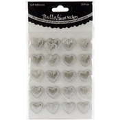 Silver - Bella! Wedding Self-Adhesive Hearts 20/Pkg