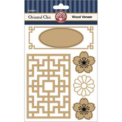 Oriental Chic Laser Cut Wood Veneer Shapes 5/Pkg-