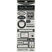"Phrases/Black - Bella! Wedding Foiled Cardstock Stickers 4.5""X12"""