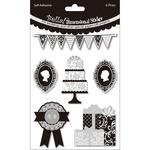 Cake Black & White - Bella! Wedding Glitter & Foil 3D Stickers