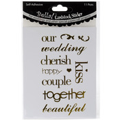 Gold - Bella! Wedding Words Cardstock Stickers 11/Pkg