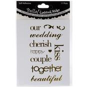 Gold - Bella! Wedding Words Cardstock Stickers 11/Pkg