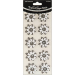 Black - Bella! Wedding Glittered Self-Adhesive Paper Florals 10/Pkg