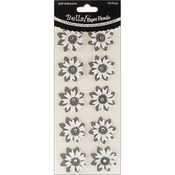 Black - Bella! Wedding Glittered Self-Adhesive Paper Florals 10/Pkg