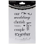 Silver Bella! Wedding Words Cardstock Stickers
