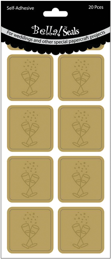 Champagne Glasses/Gold - Wedding Foiled Seals 20/Pkg
