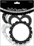 """Wedding Tokens Foiled Cardstock Die - Cuts 3"""" 15/Pkg - Black & White With Silver"""