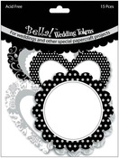 "Wedding Tokens Foiled Cardstock Die - Cuts 3"" 15/Pkg - Black & White With Silver"