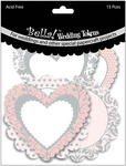 """Wedding Tokens Foiled Cardstock Die - Cuts 3"""" 15/Pkg - Pink & White With Silver"""