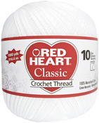 White - Red Heart Classic Crochet Thread Size 10