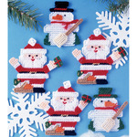 7 Count - Santa & Snowman Ornaments Plastic Canvas Kit