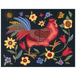 """11""""X14"""" Stitched In Wool & Thread - Rooster On Black Crewel Kit"""