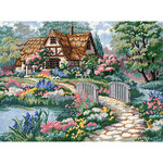 """16""""X12"""" Stitched In Thread - Cottage Retreat Needlepoint Kit"""