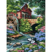 "12""X16"" Stitched In Thread - Old Mill Cottage Needlepoint Kit"