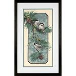 Chickadees On A Branch Stamped Cross Stitch Kit