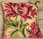 "15-3/4""X15-3/4"" - Rose Sauvage A Gauche Pillow Cross Stitch Kit"