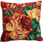 "15-3/4""X15-3/4"" - Rose Chou Gauche Pillow Cross Stitch Kit"