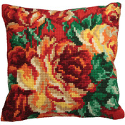 "15-3/4""X15-3/4"" - Rose Chou Gauche Pillow Cross Stitch Kit"