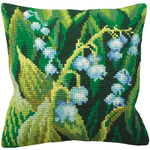 "15-3/4""X15-3/4"" - Muguet Gauche Pillow Cross Stitch Kit"