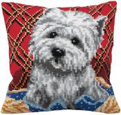 """15-3/4""""X15-3/4"""" - Bichon Pillow Cross Stitch Kit"""