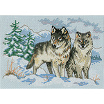 "7""X5"" 16 Count - A Pair Of Wolves Mini Counted Cross Stitch Kit"