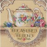 Treasured Friend Teapot - Gold Petites Counted Cross Stitch Kit