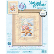 """Matted Accents Shells In The Sand Counted Cross Stitch Kit-8""""X10"""" Mat, 4""""X6"""" Ope"""
